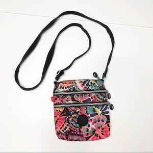 Kipling Colorful Butterfly 3 Zip Crossbody Bag